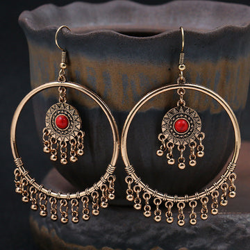 Female Retro Circle Pendant Earrings