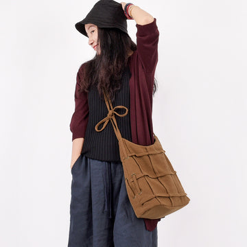 Female Retro Pure Color Plaid Shoulder Bag