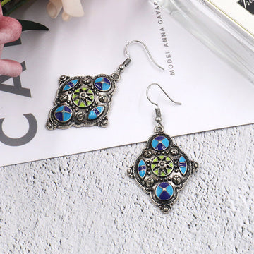 Female Rhombus Alloy Drape Earrings