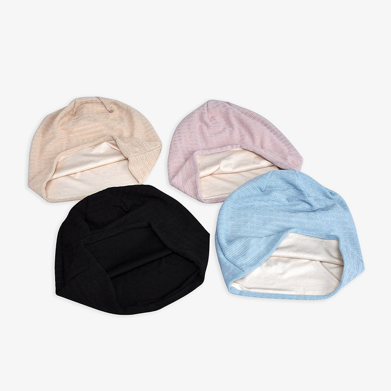 Female Solid Color Elastic Thin Cotton Hat