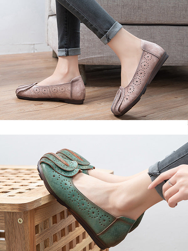 Female Solid Color Hollow Leather Shoes