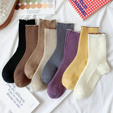 Female Solid Color Wave Edge Socks(4 Pairs)
