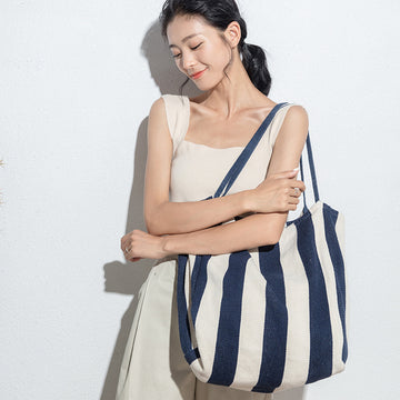 Female Striped Canvas Shoulder Bag