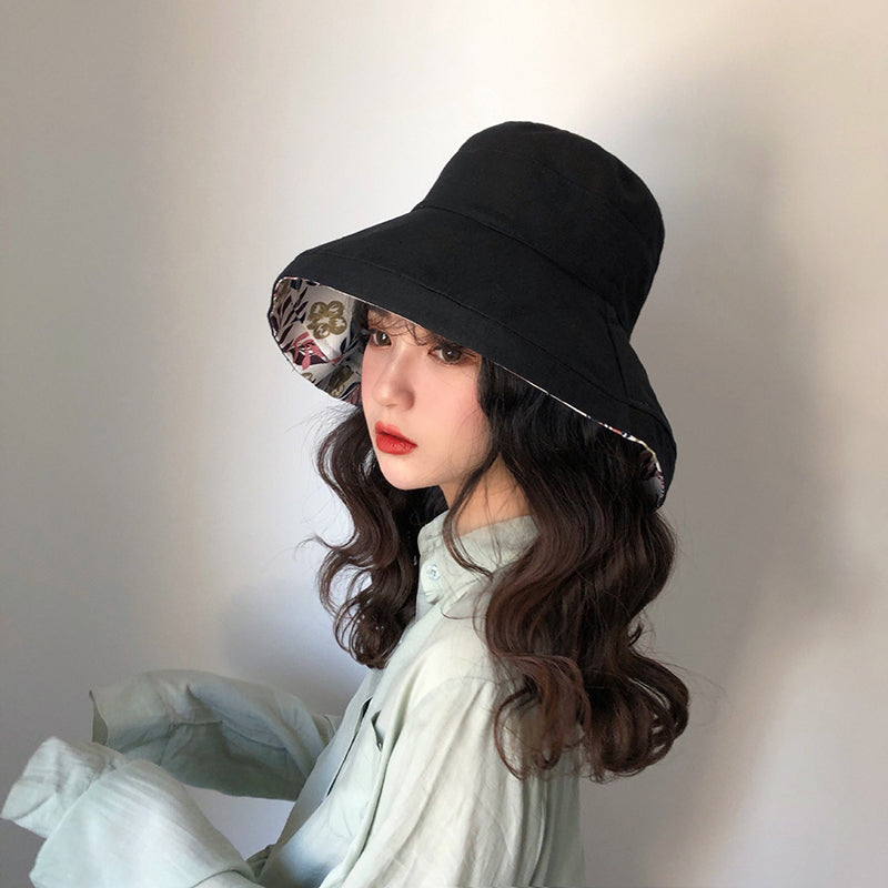 Female Summer Sun Hat Solid Color Foldable Hat