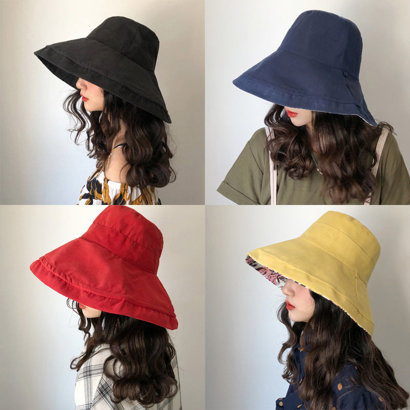 Female Summer Sun Hat Solid Color Foldable Cap