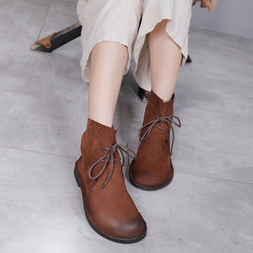 Female Winter Lace-up Leather Boots
