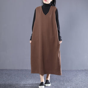 Female Autumn V-neck Cotton Solid  Loose Sleeveless Dress