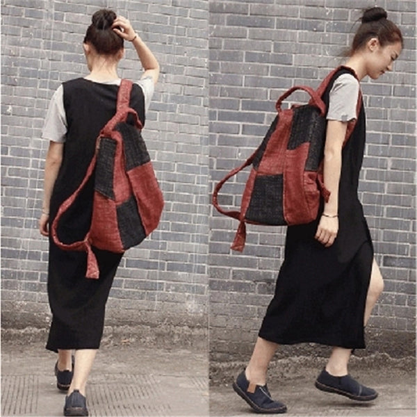 Female Color Block Linen Backpack