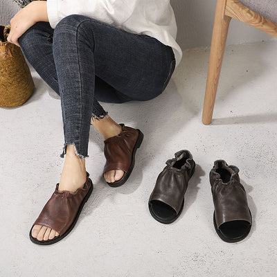 Female Leather Solid Color Peep-Toe Shoes Sandals