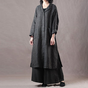 Female Linen Loose Set Long Sleeve Coat And Wide Leg Pants