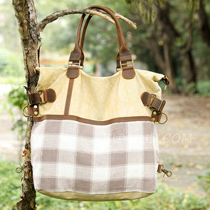 Female Linen Plaid Casual Large Shoulder Bag