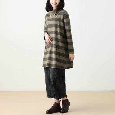 Female Autumn Casual Long Stripe Top