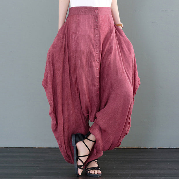 Female Loose Solid Personality Cross-Pants Harem Pants