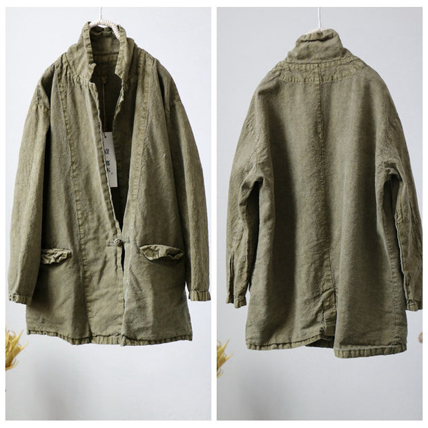 Female Retro Plain One Button Linen Shirt