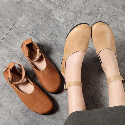 Female Solid Color Leather Flat Shoes