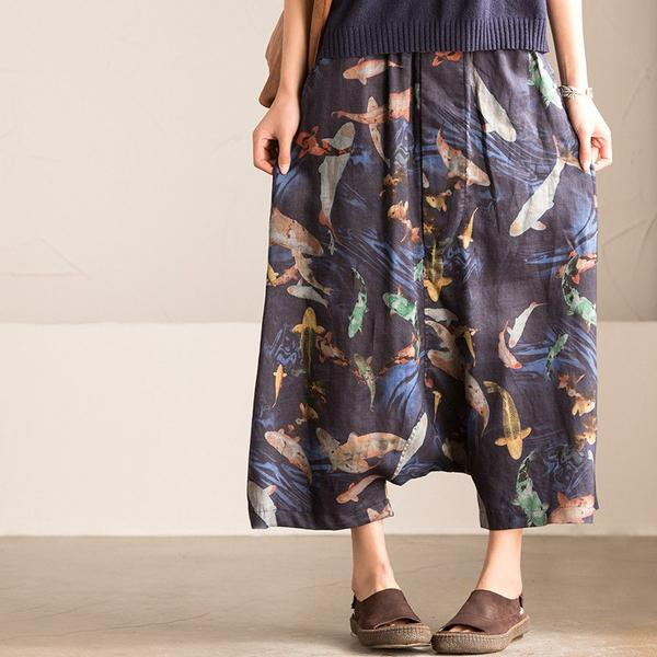 Fishes Printed Personality Loose Cross Pants