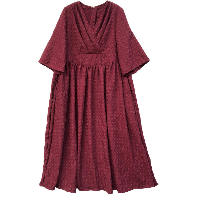 Plus Size - Flare Sleeve Plaid Lacing V-neck Maxi Dress