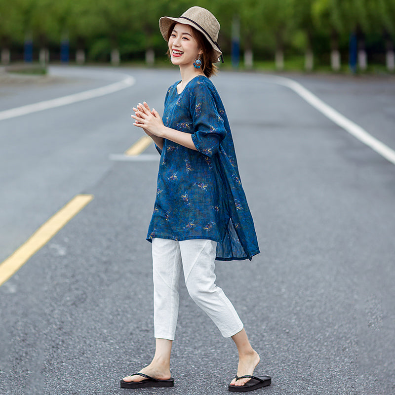 Floating Clouds Split Hem Casual Linen Blouse