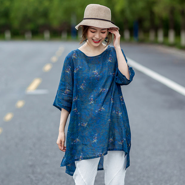 Floating Clouds Split Hem Casual Blouse