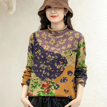 Floral Color Stitching Print Knitted Winter Sweater