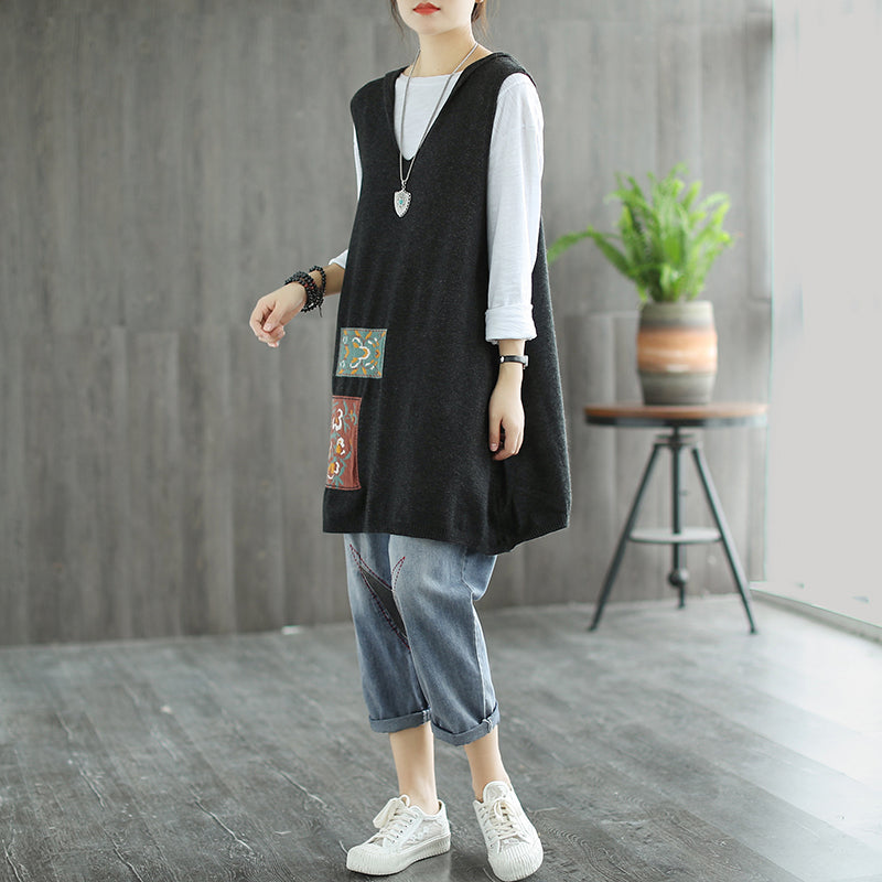 Floral Embroidery Patchwork Sleeveless Hooded Sweater