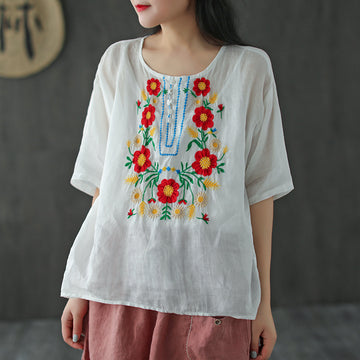 Floral Embroidery Summer Half Sleeve Ramie T-shirt