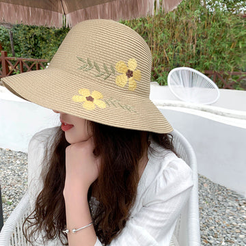 Floral Embroidery Sun Hat For Women