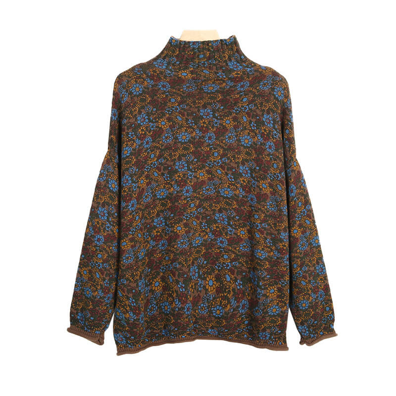 Floral Knitted Turtleneck Sweater Jumper