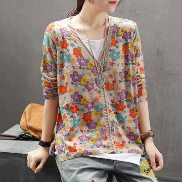 Floral Print Knitted V-neck Cotton Overcoat