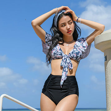 Floral Print Lacing Sexy Two Piece Swimsuit