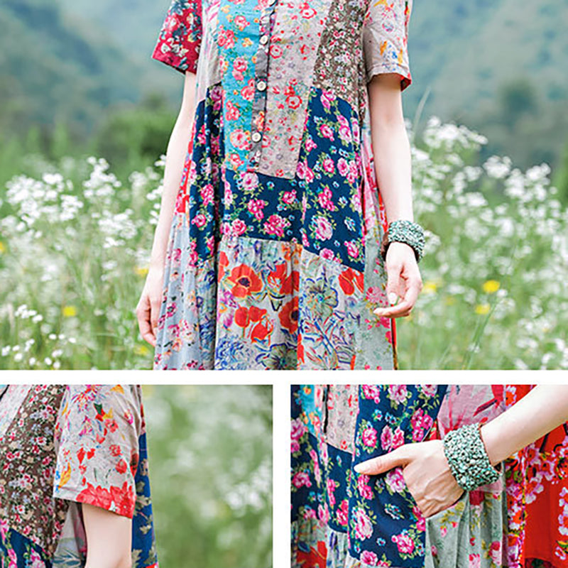Floral Print Splicing Short Sleeve 100% Cotton Dress