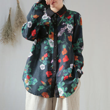 Floral Printed Patchwork Turn-down Collar Linen Shirt