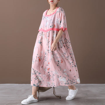 Floral Prints Drawstring Summer Loose Pleated Dress