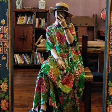 Floral Prints Stand Collar Cotton Maxi Dress
