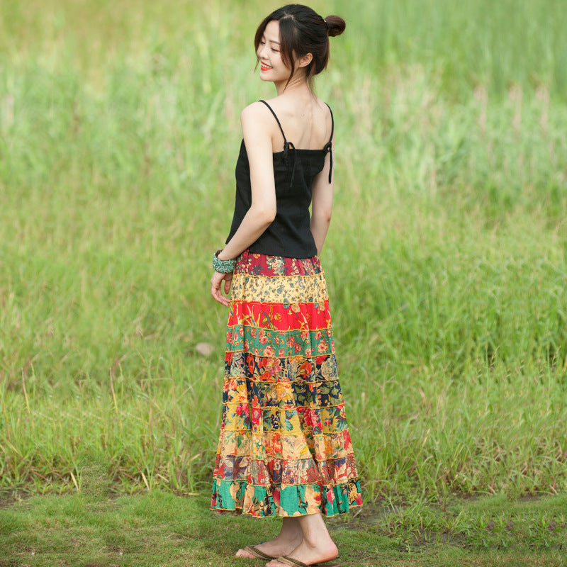 Summer Floral Prints Travel 100% Cotton Splicing Skirt