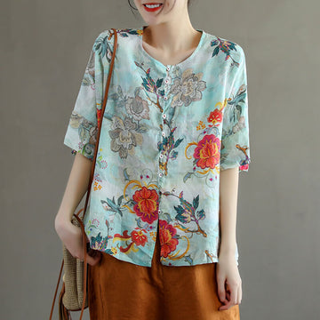 Floral Women Cotton Linen Summer Casual Breasted T-shirt