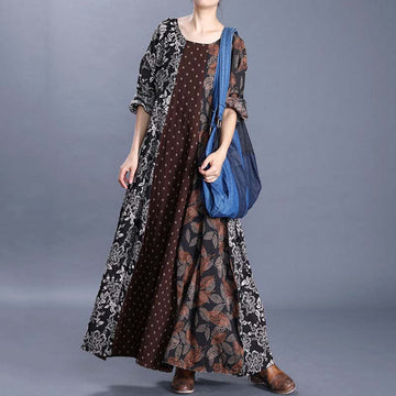 Floral And Leaf Printed O-neck Retro Dress