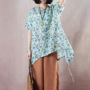Floral Casual Light Green Round Neck High-Low Hem Shirt