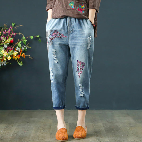 Floral Embroidery Distressed Elastic Waist Pants