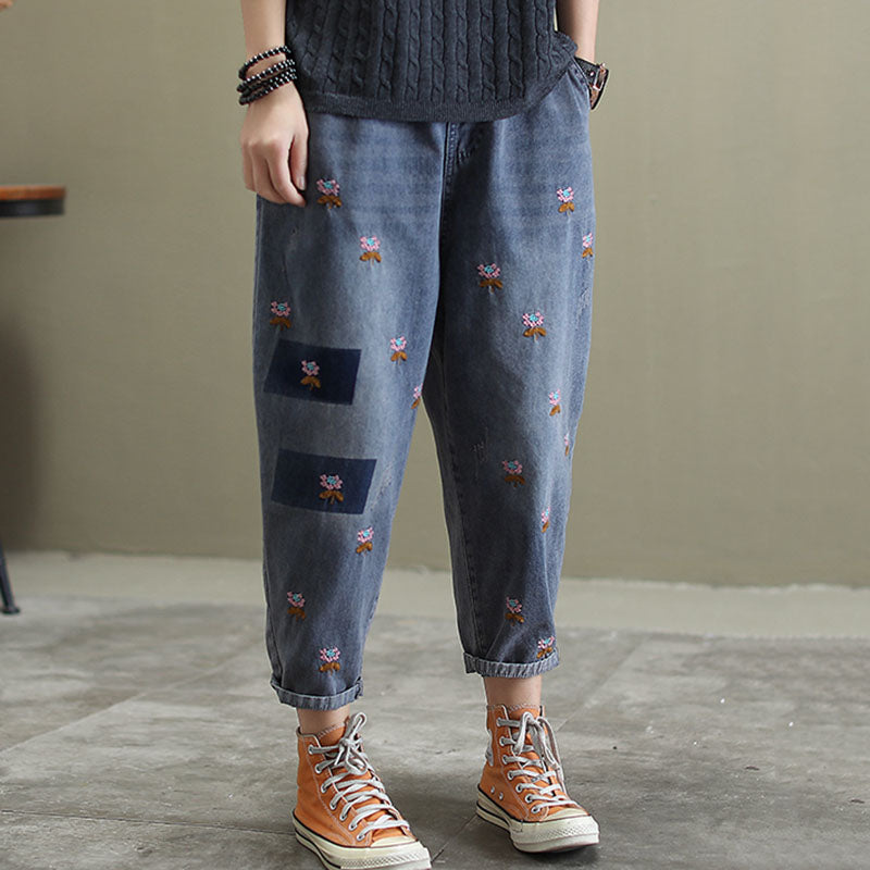 Floral Embroidery Frayed Harem Jeans