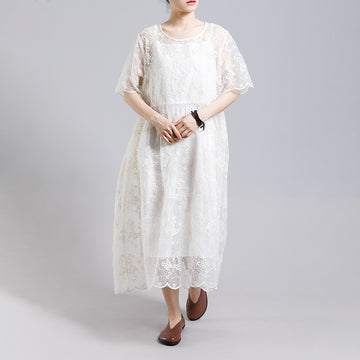 Floral Embroidery Transparent Dress With Lining