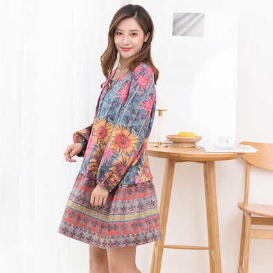 Floral  Lacing Print Autumn Casual Lantern Sleeve Dress