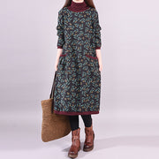 Floral Leaves Casual Plus Velvet Thick Dress