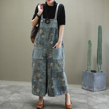 Floral Loose Distressed Denim Jumpsuit Print Dungarees