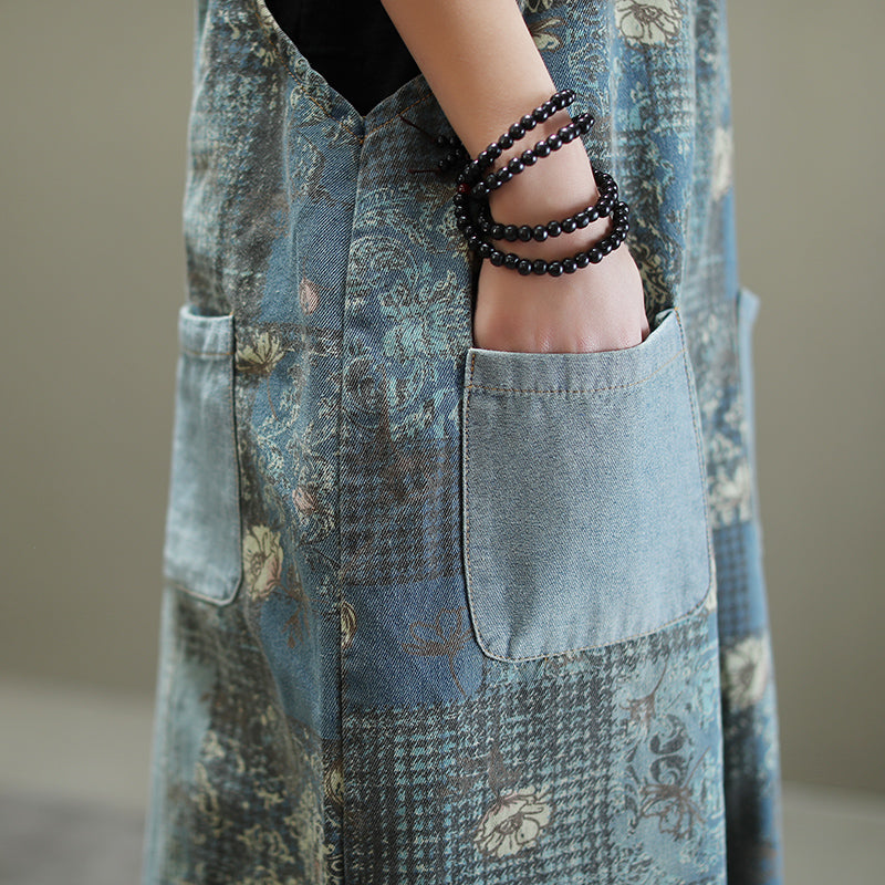 Floral Loose Distressed Denim Jumpsuit