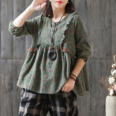 Floral O-neck Patchwork Print Loose Blouse