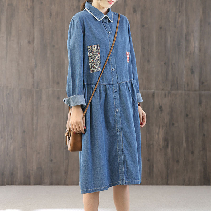 Floral Patchwork Denim Shirt Dress