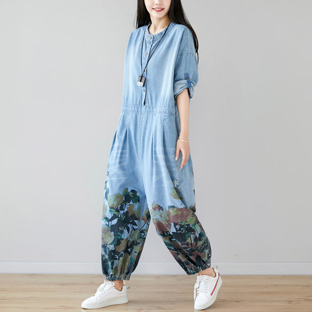 Floral Print Casual Adjustable Sleeve Rompers