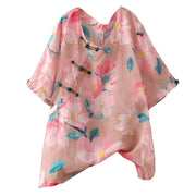 Floral Print Frog Round Collar T-Shirt