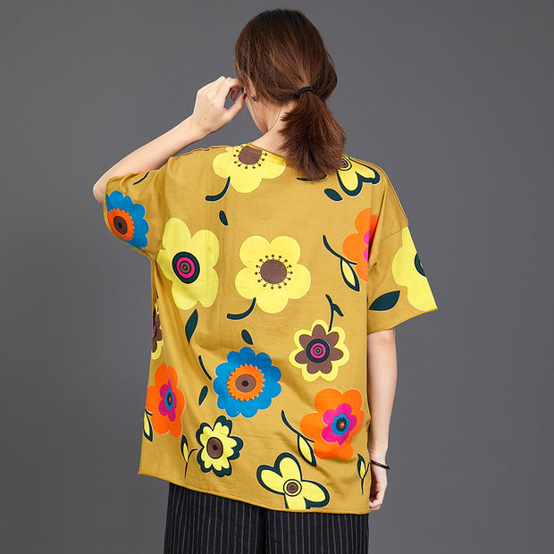 Floral Print Loose Cotton Yellow T-Shirt